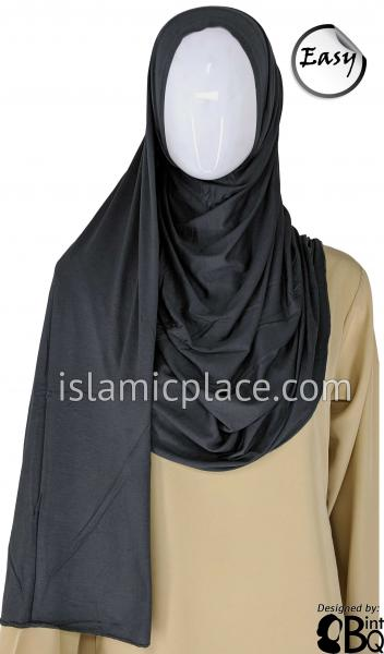 "Graphite Plain - Easy Aisha Jersey Shayla Long Rectangle Hijab 30""x70"""