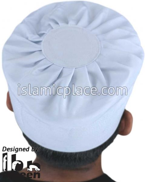 White - Namazi Crown Pleated Solid Kufi