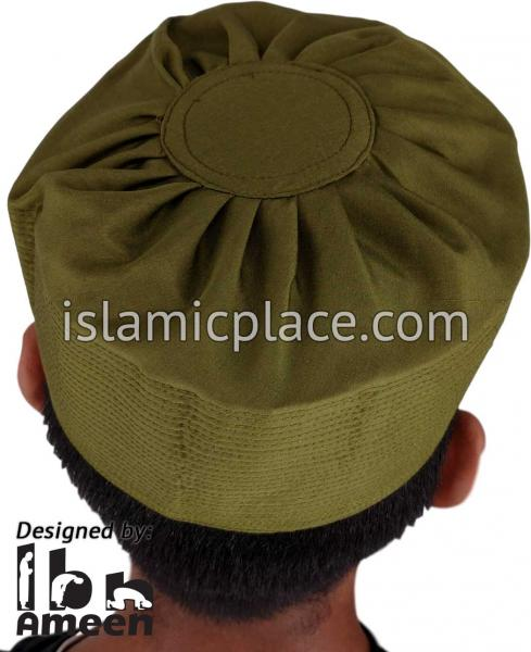 Olive - Namazi Crown Pleated Solid Kufi