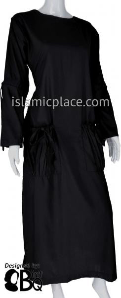 Black - Wajida Big Pockets Style Abaya by BintQ - BQ183