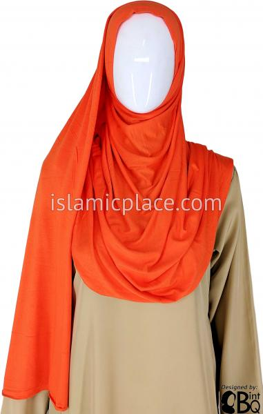 "Orange Plain - Jamila Jersey Shayla Long Rectangle Hijab 30""x70"""