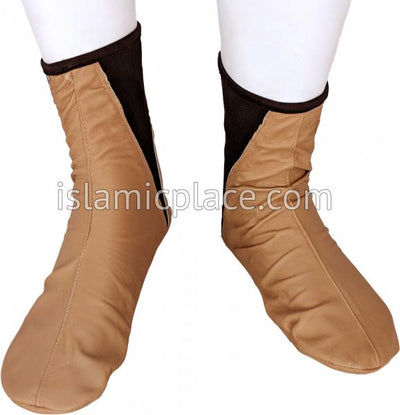Caramel - Elastic Slip-on Khuff Leather socks