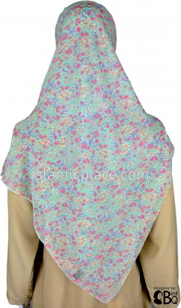 "Water Color Flowers on a Mint Green Bed - 45"" Square Printed Khimar"