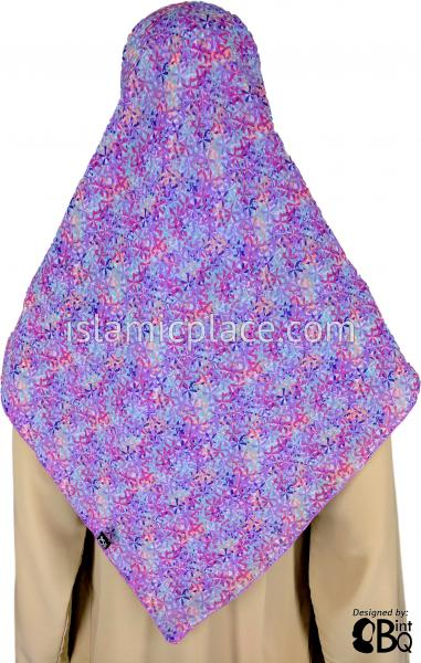 "Lavender, Baby Blue, Magenta, and Navy Small Petal Flowers - 45"" Square Printed Khimar"