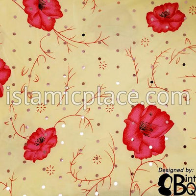 Pink Roses on Beige Base with Red Wrap - Kuwaiti Scarf