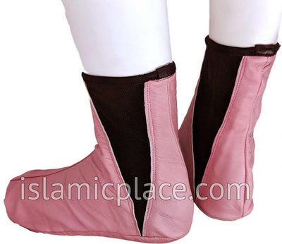 Pink - Elastic Slip-on Khuff Leather socks