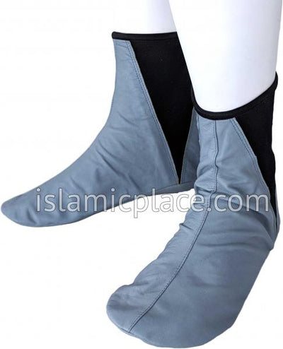 Silver Gray - Elastic Slip-on Khuff Leather socks