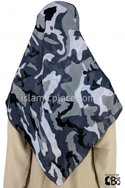 "Black White Grey Camouflage Army Fatigue - 45"" Square Printed Khimar"