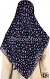 "Fuchsia Flower Bunches on Navy Blue - 45"" Square Printed Khimar"