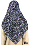 "Blue Purple and White Hibiscus Flowers on Black - 45"" Square Printed Khimar"