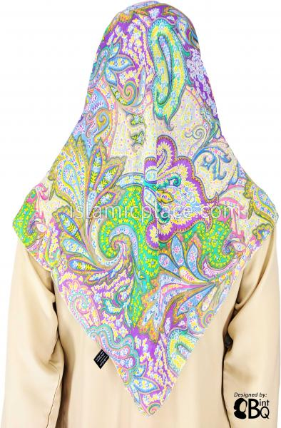 "Green, Blue, Yellow, Purple, Pink, Gray, Taupe Abstract Paisley - 45"" Square Printed Khimar"