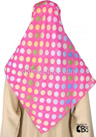 "Blue, Yellow, Green Polka Dots on Neon Pink Base  - 45"" Square Printed Khimar"