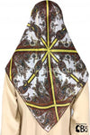 "Brown, Yellow, White Paisley and Abstract - 45"" Square Printed Khimar"