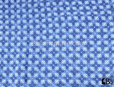 "Blue and White Floral Array - 45"" Square Printed Khimar"