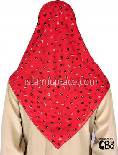 "Black and White Circles on Red Background - 45"" Square Printed Khimar"
