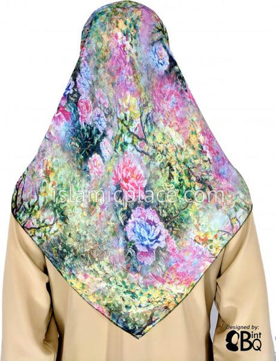 "Blue, Pink, Green, Yellow Surreal Flower Design - 45"" Square Printed Khimar"
