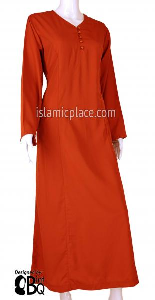 Burnt Orange - Shakela Simple with Front Buttons Style Abaya by BintQ - S11