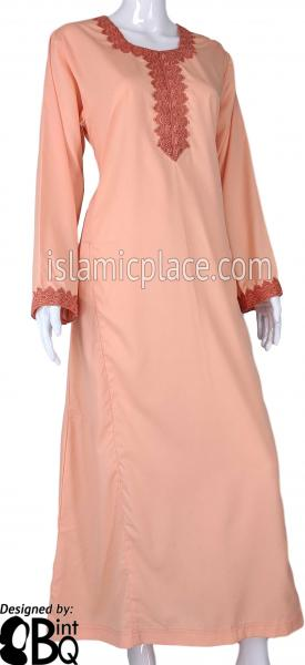 Peach - Laila with Lace Style Abaya by BintQ - S6