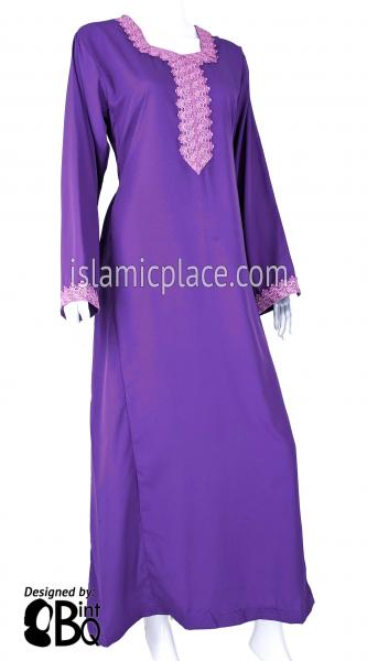 Purple - Laila with Lace Style Abaya by BintQ - S6