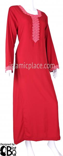 Red - Laila with Lace Style Abaya by BintQ - S6