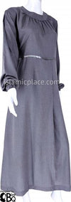 Silver Heather Gray - Munira Mini-Pleated Neck Abaya with Satin by BintQ - BQ266