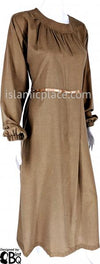 Amber Olive - Munira Mini-Pleated Neck Abaya with Satin by BintQ - BQ266