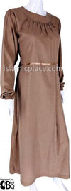 Glazed Pecan - Munira Mini-Pleated Neck Abaya with Satin by BintQ - BQ266