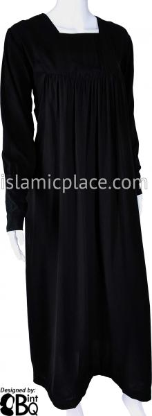 Black - Baby Doll Inspired with Stretch Jersey Cuffs Abaya by BintQ - BQ313