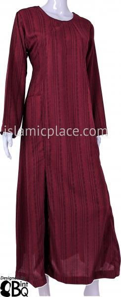 Burgundy - Farah Urban Abaya with large front pockets and front and back pleats by BintQ - BQ180