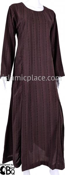 Plum Brown - Farah Urban Abaya with large front pockets and front and back pleats by BintQ - BQ180