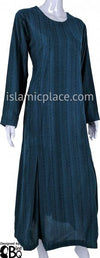 Dark Teal - Farah Urban Abaya with large front pockets and front and back pleats by BintQ - BQ180