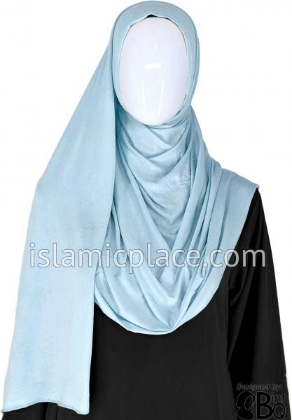 "Sky Blue Plain - Jamila Jersey Shayla Long Rectangle Hijab 30""x70"""