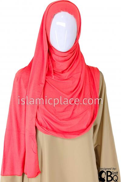 "Coral Plain - Jamila Jersey Shayla Long Rectangle Hijab 30""x70"""