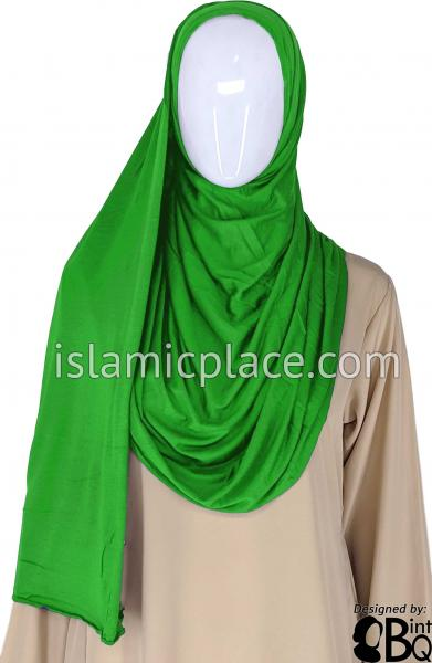 "Emerald Green Plain - Jamila Jersey Shayla Long Rectangle Hijab 30""x70"""