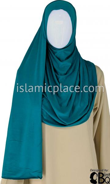 "Teal Plain - Jamila Jersey Shayla Long Rectangle Hijab 30""x70"""