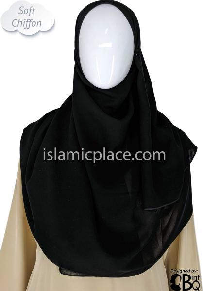 "Black - Plain Soft Chiffon Shayla Long Rectangle Hijab 30""x70"""