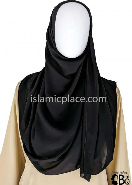 "Black - Plain Georgette Shayla Long Rectangle Hijab 30""x70"""