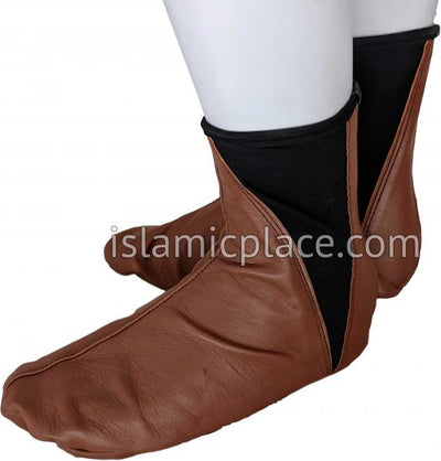 Chocolate Brown - Elastic Slip-on Khuff Leather socks