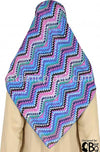 "Sky Blue, Purple, Pink, Turquoise, White and Black zig-zag pattern - 45"" Square Printed Khimar"