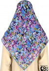 "Blue, Lavender, Purple, Yellow and Olive flower bed - 45"" Square Printed Khimar"