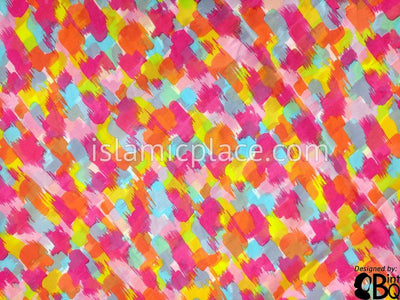 "Orange, Fuchsia, Muted Blue, Pale Pink, Lime Green paint stroke inspired design - 45"" Square Printed Khimar"