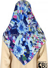 "Navy, Blue, Pink, and Yellow shattered design - 45"" Square Printed Khimar"