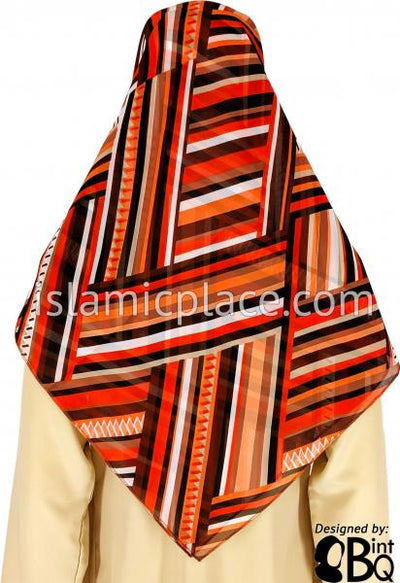 "Fire-Orange, Brown, Black, and White Criss-Cross design - 45"" Square Printed Khimar"