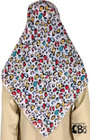 "Red, Yellow, and Turquoise Leopard design - 45"" Square Printed Khimar"
