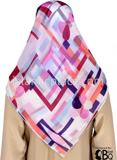 "Orange, Burgundy, Purple, Pink, and Light Blue Tetris Fans - 45"" Square Printed Khimar"