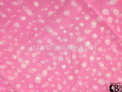 "White Polka Dots on Baby Pink background - 45"" Square Printed Khimar"