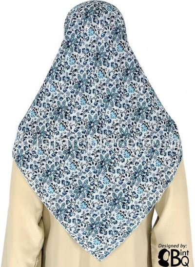 "Sky Blue and Navy Blue Array of Flowers on White background - 45"" Square Printed Khimar"