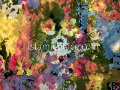"Olive, Yellow, Purple, Steel Blue Impressionist Art - 45"" Square Printed Khimar"