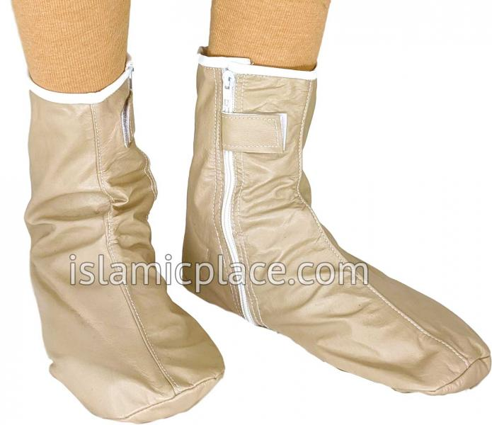 Cream - Zip-up Khuff Leather socks