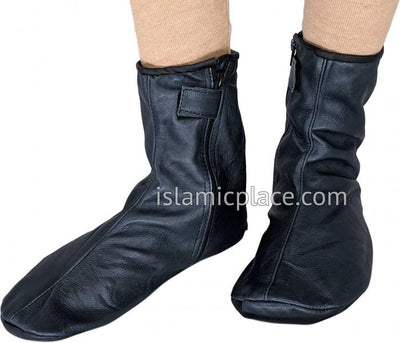 Charcoal Gray - Zip-up Khuff Leather socks